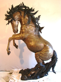 Bronze Rearing Horse (Right)