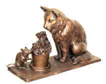 Curious Cat and Clever Mouse Bronze Sculpture