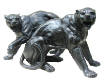 Fighting Bronze Panter Statues