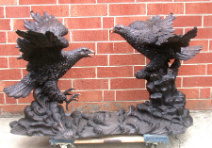 Two Eagles Bronze Table Base