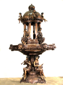 Cupids On Dome Small Bronze Fountain