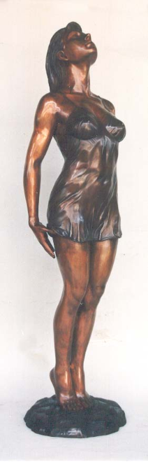 Bronze Statue Lady in Lingerie