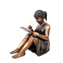 Bronze Statue Girl Writing
