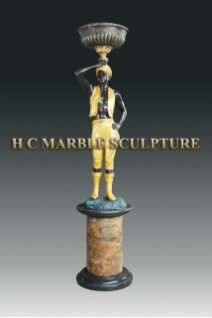 Art Deco Man Candel Holder Statue, facing left