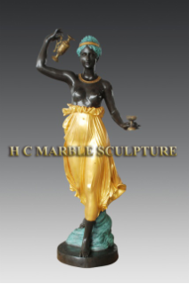Maiden Beauty w Cups & Flagon Bronze Sculpture