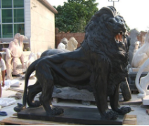 Huge Black Walking Lion on Base