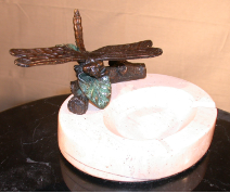 Bronze Dragonfly Figurine Perched on Marble Ashtray