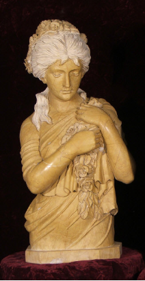 Sea Goddess Travertine Marbe Bust