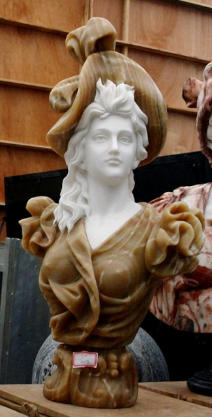 Marble Bust of Woman in Brown Hat