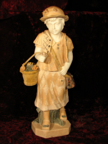 Marble Sculpture of Schoolgirl with Basket