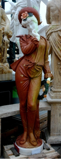 Marble Statue Lady in Red/Suit