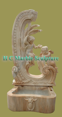 Marble Statue of 2 Cherubs; with Carved Leaf Self Contained Fountain