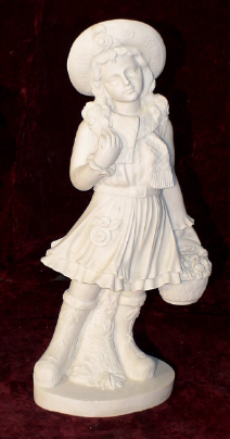 Marble Sculpture Schoolgirl W/ Flower Basket