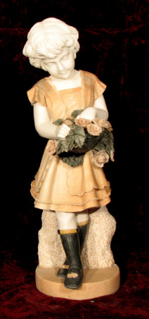 Marble Statue of Girl with Flowers