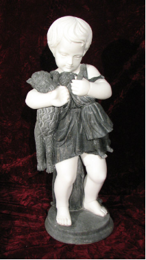 Marble Sculpture of Baby Girl with Doll