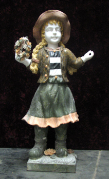 Marble Sculpture of School Girl w/ Flower Bouquet