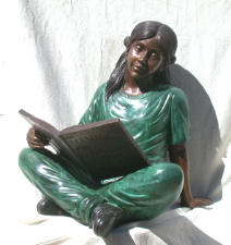 Girl Sitting with Book, Bronze Statue