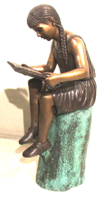 Sitting Girl on Log w/ Book Bronze Statue