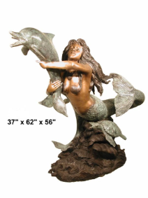 Mermaid with Dolphin Decorative Bronze Fountain