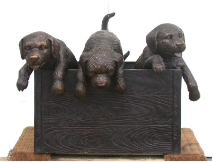 Bronze Puppies in a Box