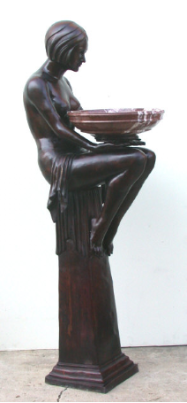 Bronze Statue Lady on Column w/ Marble Bowl