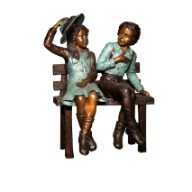 Bronze Sculpture Boy and Girl Sitting on a Bench