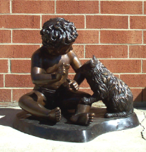 Bronze Sculpture Child With Cat