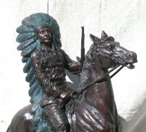 Apache on Horse Bronze Statue
