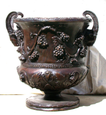 Bronze Grape Vine Urn Brown Patina