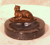 Bronze Cat Figurine Lying on Marble Ashtray