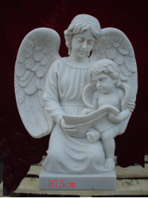 Marble Statue Angel Mother & Baby