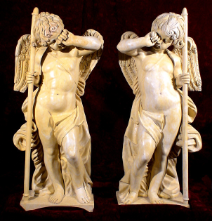 Weeping Cupid Angel Statues in Yellow