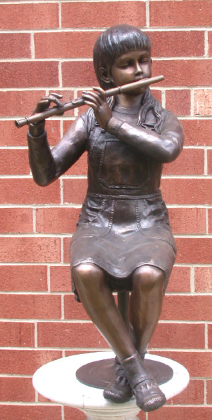 Girl with Flute, Bronze Statue