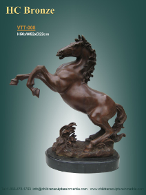 Decorative Bronze Statue of Rearing Horse on marble base.