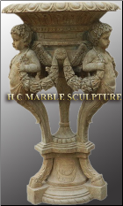 Marble Urn Three Angels Holding Vase