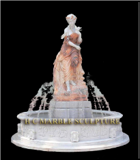Statuary Fountain in Pink & White Marble