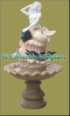 Marble Statue Fountain; Woman w/Shell & Duck in Self Contained Bowl