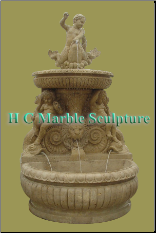 Mer-boys with Fish and Lion Head Marble Self Contained Fountain