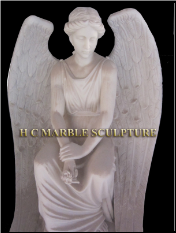 Beautiful Angel Sitting Marble Statue
