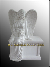 Angel Sitting on a Headstone Base