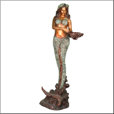 Bronze Fountain Mermaid with basket