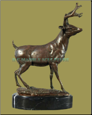 Bronze Deer on Black Marble Base Table Top Sculpture