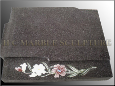 Granite Tombstone W/ Eetched Flowers on Bottom