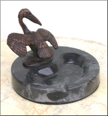 Bronze Pelican Figurine Standing on Marble Ashtray