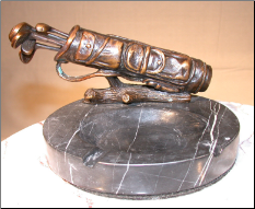 Bronze Golf Bag Figurine on Marble Ashtray