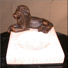Bronze Lion Figurine Lying Down on Marble Ashtray