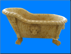 Marble Bathtub w/ High Back, Claw Legs