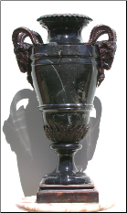 Black Marble Urn with Ram Handles