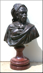 African Man Bronze & Marble Bust