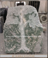 Carved Tree Headstone on Green Jade Stone